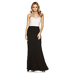 Quiz - Cream contrast diamante neck trim maxi dress