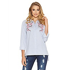 Quiz - Blue stripe embroidered flower shirt