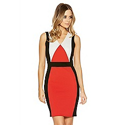 Quiz - Orange and black panel midi dress