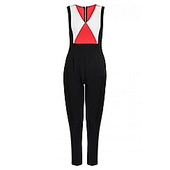 Quiz - Orange and black panel jumpsuit