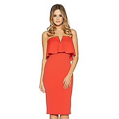 Quiz - Orange bandeau v bar midi dress