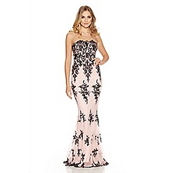 Quiz - Nude sequin scallop fishtail maxi dress