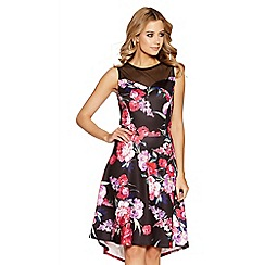 Quiz - Black and pink floral mesh dip hem dress