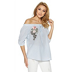 Quiz - Blue and white bardot embroidered top