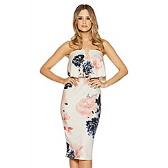 Quiz - Cream and coral bandeau floral dress