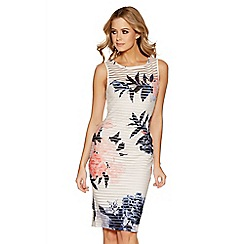 Quiz - Cream and coral floral sleeveless midi dress