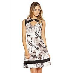 Quiz - Cream and black floral skater dress