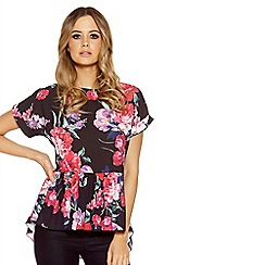 Quiz - Black and pink crepe floral peplum top