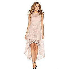 Quiz - Pink glitter lace dip hem dress