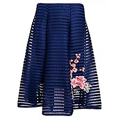 Quiz - Navy and pink mesh ribbed embroidered midi skirt