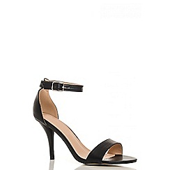 Quiz - Black polyurethane barely there sandals