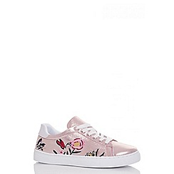 Quiz - Rose gold shimmer flower embroidered trainers