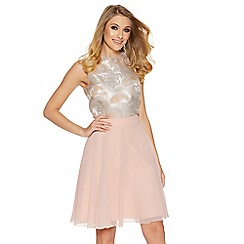 Quiz - Peach chiffon flared midi skirt