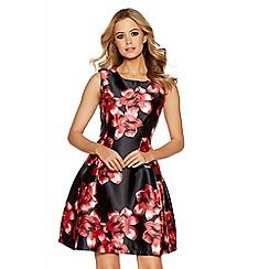 Quiz - Black satin red flower print dress