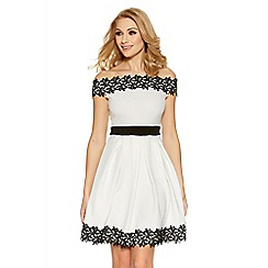 Quiz - Cream bardot lace trim skater dress