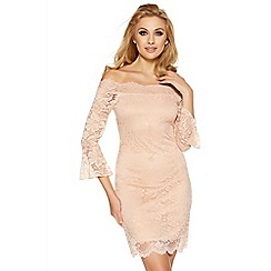 Quiz - Nude lace bell sleeve bardot dress