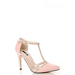 Quiz - Pink faux suede shimmer t-strap courts