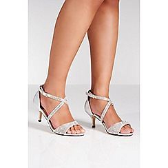 Quiz - Silver shimmer diamante low heel sandals
