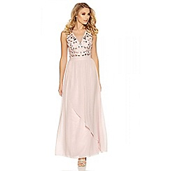 Quiz - Pink embellished waterfall v neck maxi dress