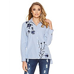 Quiz - Blue stripe navy embroidered flower shirt