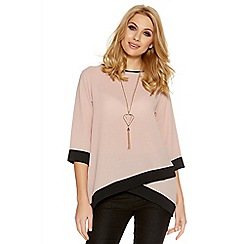 Quiz - Pink and black contrast 3/4 sleeve necklace top