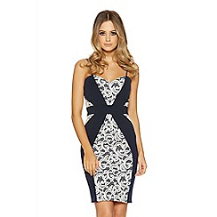 Quiz - Navy lace panel midi dress