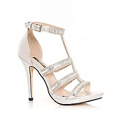 Quiz - Silver diamante strap sandals