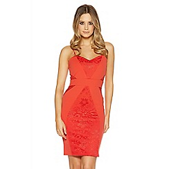 Quiz - Orange lace panel midi dress