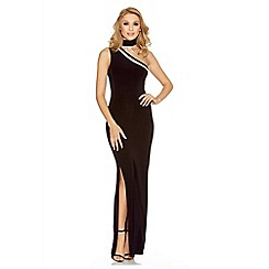 Quiz - Black one shoulder mesh split maxi dress