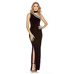 Quiz - Black one shoulder mesh split maxi dress