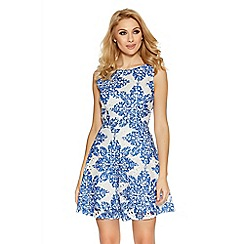 Quiz - White and blue crochet paisley print skater dress