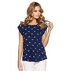 Quiz - Navy bird print crepe top