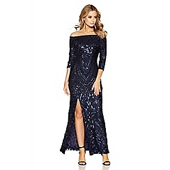 Quiz - Navy sequin bardot fishtail maxi dress