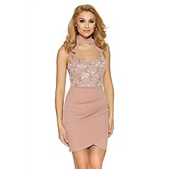 Quiz - Pink lace sweetheart neck bodycon dress