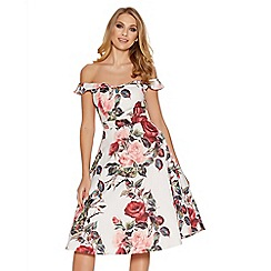 Quiz - Cream and red floral print bardot prom dress