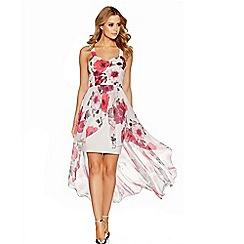 Quiz - Cream and pink flower print dip hem dress