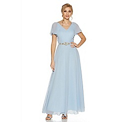 Quiz - Pale blue chiffonv neck maxi dress
