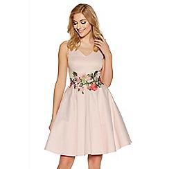 Quiz - Pale pink satin floral print skater dress