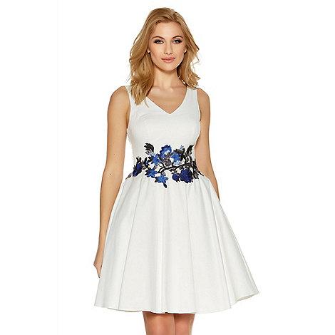 Quiz - White and blue satin floral print skater dress