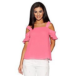 Quiz - Pink chiffon cold shoulder frill sleeves top