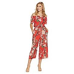 Quiz - Red bardot floral print culotte jumpsuit