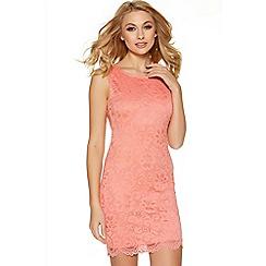 Quiz - Coral Lace Scallop Hem Bodycon Dress