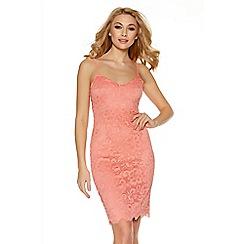 Quiz - Coral Lace Scallop V Neck Strappy Dress