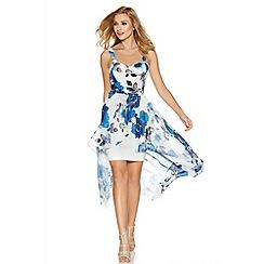 Quiz - Cream and blue chiffon dip hem dress