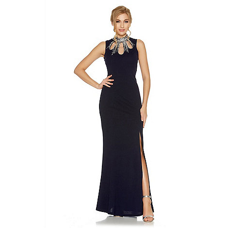 Quiz - Navy embellished cut out fishtail maxi dress