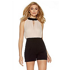 Quiz - Nude and black open front playsuit
