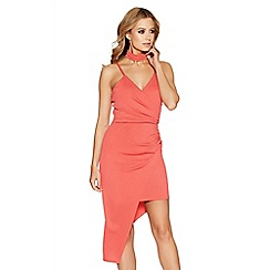 Quiz - Coral asymmetric choker dress