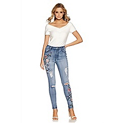 Quiz - Light blue flower embroidered skinny jeans