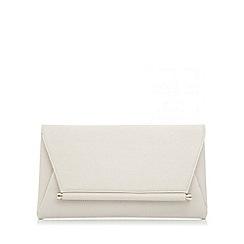 Quiz - Beige pu gold bar clutch bag