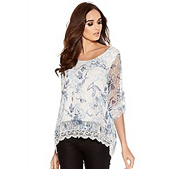 Quiz - White and blue mesh flower print lace hem top